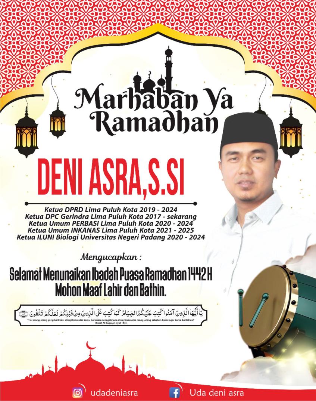 Iklan Marhaban Ya Ramadhan Ketua DPRD Kab. 50 Kota Deni Asra (ok)