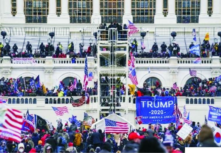 Demo pendukung Presiden AS Donald Trump di Gedung Capitol Hill saat penetapan Joe Biden sebagai Presiden AS terpilih oleh Kongres AS. NET