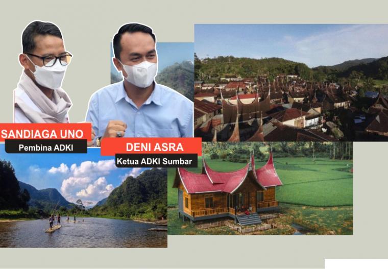 Menteri Pariwisata dan Ekonomi Kreatif RI Sandiaga Uno yang juga pembina Asosiasi Desa Kreatif Indonesia (ADKI) bersama Ketua ADKI Sumbar Deni Asra yang juga Ketua DPRD Kabupaten Limapuluh Kota. Inilah view 3 dari 46 desa / nagari kreatif di tanah air yang tergabung dalam ADKI. JNC/NET