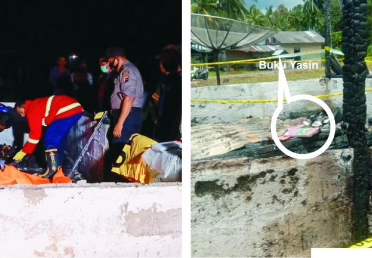Petugas dan polisi melakukan evakuasi terhadap 4 orang korban (kiri). Buku Yasin yang masih utuh di tengah-tengah puing kebakaran. RIZAL