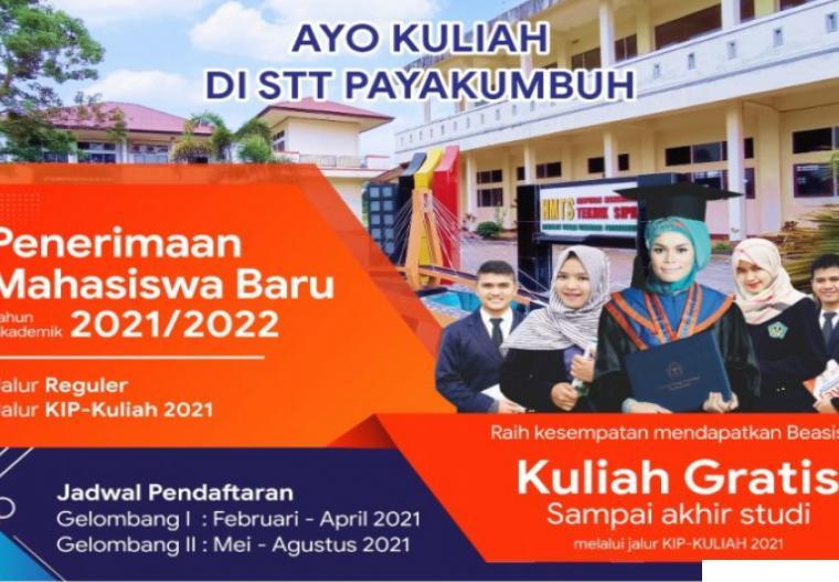 Sekolah Tinggi Teknologi Payakumbuh (STTP) telah membuka Pendaftaran Mahasiswa Baru Tahun Akademik 2021/2022. DOK-STTP