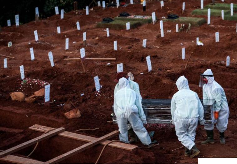 Salah satu lokasi pemakaman jenazah pasien Covid-19 di tanah air. NET