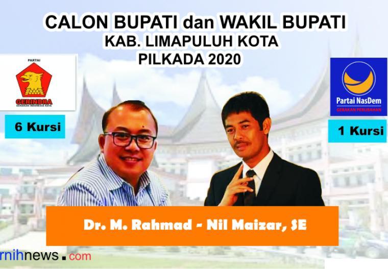 Partai Gerindra dan Partai Nasdem akan berkoalisi di Pilkada Kabupaten Limapuluh Kota dan akan mengusung M. Rahmad dan Nil Maizar.
