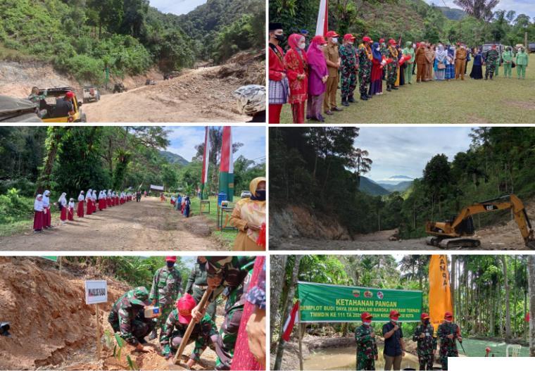 Rangkaian kegiatan kunjungan pengawasan oleh Waaslog Kasad TNI, Brigjend. Yayan Suryana, SIP ke lokasi TMMD ke-111 tahun 2021 Kodim 0306/50Kota di Nagari Talang Maur, Kecamatan Mungka, Selasa (22/06/2021). ERZ