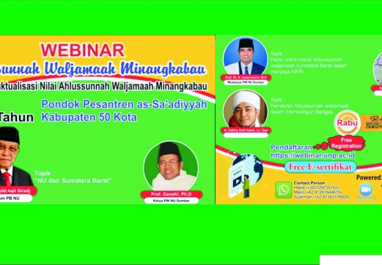Webinar Ponpes Ma'arif As Sa'adiyah Simalanggang, Kabupaten Limapuluh Kota yang akan dilaksanakan Rabu (15/07/2020) pukul 20.00 s/d 22.00 WIB. JNC