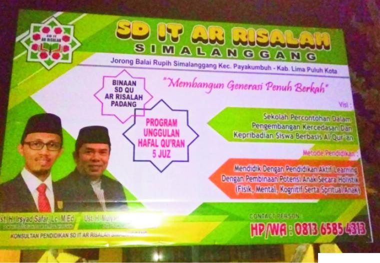 Spanduk penerimaan murid baru SD IT Ar Risalah Simalanggang tahun pelajaran 2021/2022. ERZ