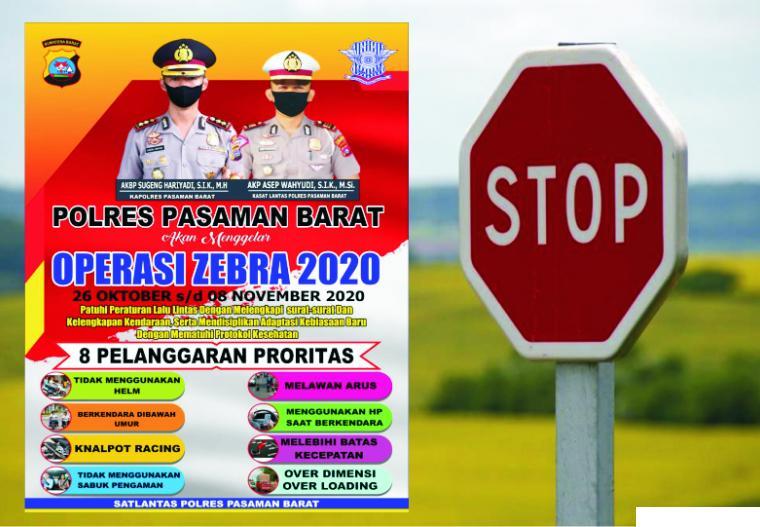 Polri menggelar Operasi Zebra dari 26 Oktober sampai dengan 08 November 2020. Masyarakat pengendara diminta mematuhi peraturan berlalulintas dan melengkapi dokumen kendaraan. JNC