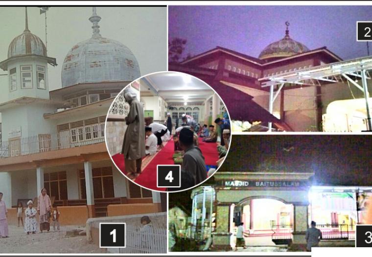 Masjid Baitusasalam tahun 1980-an dan masa sekarang. Foto dalam lingkaran adalah suasana Shalat Subuh, Selasa (13/04/2021) atau subuh hari pertama Ramadhan 1442 H. JNC/DOK FB