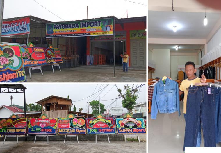 Heri Chandra owner Toko Boutique Payobadar Import menunjukkan koleksi celana dan jaket jeans yang dijual di tokonya, Kamis (23/09/2021). ERZ