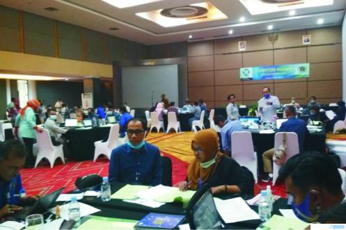 Suasana Ujian Kompetensi Wartawan (UKW) Sumatera Barat, Senin dan Selasa (08-09 Maret 2021) di Hotel Grand Inna Muara, Padang. ERZ