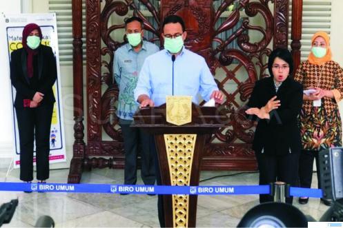 Gubernur DKI Jakarta, Anies Bawesdan memberikan penjelasan soal perkembangan Covid-19. NET