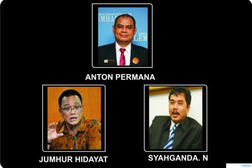 Anton Permana, Jumhur Hidayat, dan Syahganda, aktivis dan pengurus KAMI yang ditangkap dan ditahan Bareskrim Polri. JNC