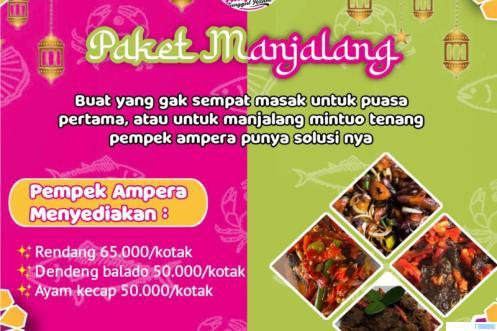 Menu istimewa untuk buka puasa pertama di Bulan Ramadhan 1442 H. Rendang, dendeng balado dan ayam kecap yang disiapkan secara khusus oleh Restoran Pempek Ampera Tunggul Hitam, Padang. IST