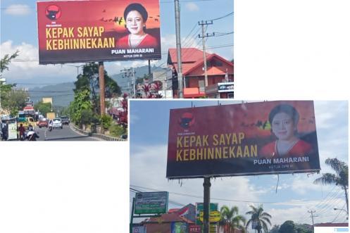 Baliho besar Puan Maharani, Ketua DPR RI yang juga Wakil Ketua Umum DPP PDIP terpasang di jalan utama Kota Payakumbuh dan Kabupaten Limapuluh Kota, Tanjungpati, Selasa (03/08/2021). ERZ