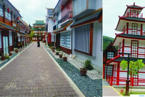 Miniatur bangunan rumah Jepang dan Korea di Kawasan Sarasah, Lembah Harau, Kabupaten Limapuluh Kota. Meski masih di masa pandemi Covid-19, namun wisatawan masih tetap berkunjung ke objek wisata ini. NITA