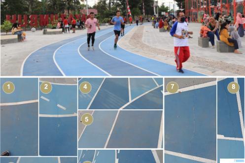 Lapangan Olahraga Terbuka Payakumbuh Bugar di kawasan Padang Kaduduak. Banyak retakan pada track atau lintasan larinya. Proyek ini dilaksanakan oleh CV. Cempaka dengan anggaran Rp4.593.594.000,-. Padahal baru enam bulan lalu selesai dibangun. ERZ/JNC/DOK