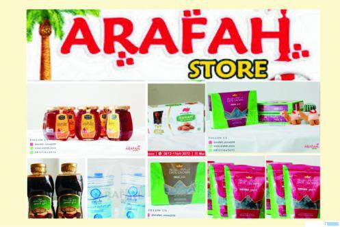 Di antara panganan buka puasa dan oleh-oleh dari Tanah Suci yang tersedia di Arafah Store, Padang.