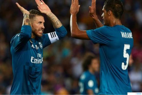 Dua bek tangguh Real Madrid Ramos (Kapten) dan Varane. NET