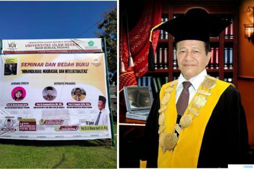 Buku Autobiografi 70 Tahun Prof. Dr. H. Makmur Syarif, SH, M.Ag, mantan Rektor IAIN Imam Bonjol Padang akan diluncurkan, Selasa 14-09-2021 di Aula Kampus UIN IB Padang. IST/JNC