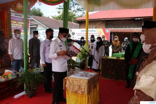 Pengukuhan Banmus Nagari Gurun oleh Bupati Limapuluh Kota Safaruddin Dt. Bandaro Rajo, Rabu (30/06/2021). IST