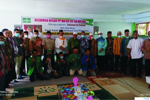 Bupati Limapuluh Kota H. Safaruddin Dt. Bandaro Rajo, SH bersama KH. Sudirman Syair pada rangkaian acara syukuran di Ponpes Ma'arif As Sa'adiyah, Kamis (11/03/2021). M. ABDIO