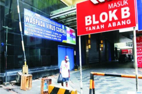 Pasar Tanah Abang, DKI Jakarta, penupatannya diperpanjang hingga 19 April 2020. Sedianya Pasar Tanah Abang beroperasi lagi 06 April 2020, namun karena wabah corona masih berjangkit, penutupan diperpanjang lagi oleh Pemprov DKI Jakarta. NET