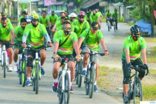 Dandim 0309/Solok ikut gowes fun bike sembari kampanye 3M. JON
