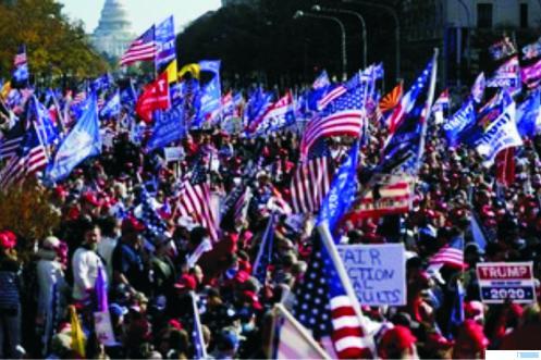 Demo pendukung Capres Donald Trump yang berakhir ricuh, Sabtu (14/11/2020) waktu setempat. NET