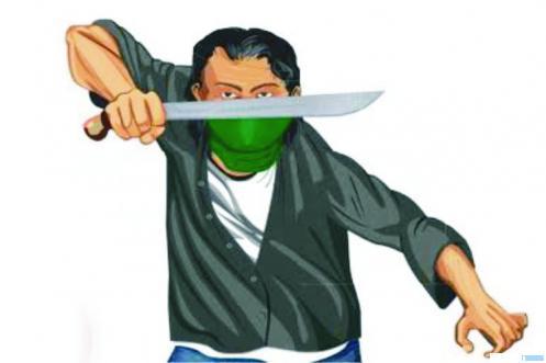 ilustrasi pria dengan golok panjang. NET