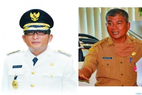 Wawako Padang Hendri Septa dan Sekda Kota Padang Amasrul. NET