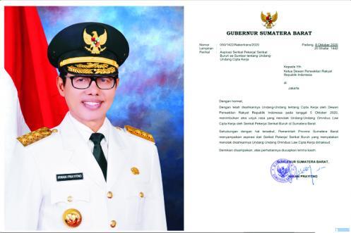 Gubernur Sumbar Irwan Prayitno dan surat yang ditujukan kepada Ketua DPR RI. JNC