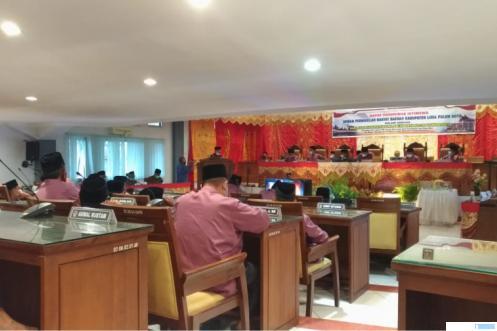 Suasana Rapat Paripurna Istimewa DPRD Kabupaten Limapuluh Kota memperingati Hari Jadi yang ke-180 tahun. NITA