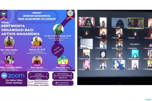 Diskusi Hima Manajemen FE UM Sumbar tentang Pentingnya Organisasi Mahasiswa yang dilaksanakan secara online video zoom, Sabtu (28/08/2021). IST