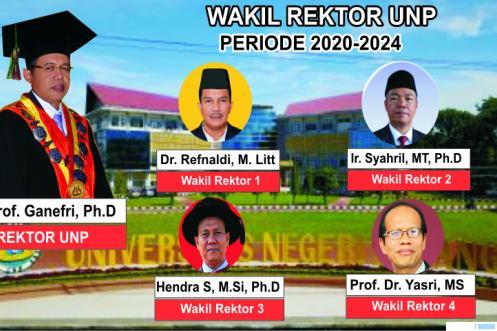 Para Wakil Rektor UNP yang akan dilantik, Jumat (03/07/2020) pukul 09.00 WIB oleh Rektor UNP, Prof. Ganefri, Ph.D. JNC