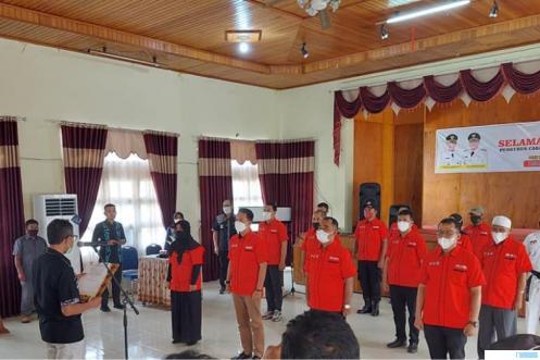 Prosesi pelantikan Pencab Inkanas Kabupaten Limapuluh Kota oleh Ketua Umum Pengda Inkanas Sumbar Irwan Prayitno, Rabu (26/04/2021) di Aula Eks. Kantor Bupati Limapuluh Kota. IST