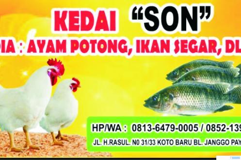 Merek pedagang ayam potong dan ikan segar di Payakumbuh. ERZ