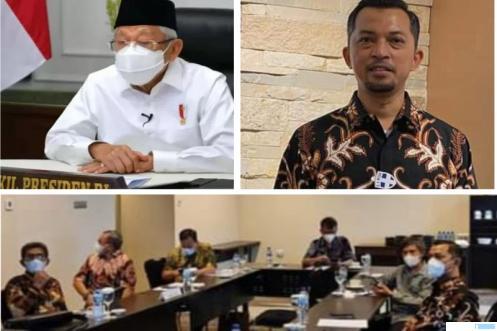 Wapres RI Ma'ruf Amin, Sekjen Asosiasi Produsen Insinerator Indonesia (APII) Joni Hendri, dan suasana audiensi pengurus pusat APII dengan Wapres di Jakarta. Audiensi membahas tentang limbah B3 Covid-19 di Tanah Air yang belum tertangani. (IST)