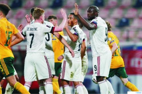 Pemain Belgia merayakan kemenangan atas Wales pada kualifikasi Piala Dunia, Kamis (25/03/2021) dini hari WIB di Stadion King Power. NET