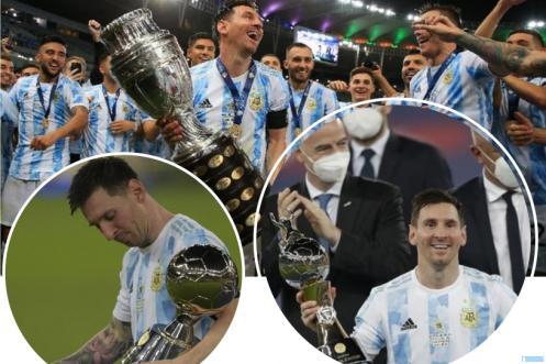 Kapten Argentina Lionel Messi mengangkat piala Copa America setelah berhasil mengalahkan Brasil 1:0 pada laga final yang dilaksanakan di Stadion Maracana, Rio De Jainero, Brasil, Minggu (11/07/2021) pagi WIB. Messi juga berhasil memenangkan gelar dan piala top scorer dan juga sebagai pemain terbaik. NET