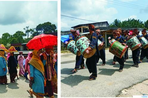 Anak Daro Jo Marapulai (pengantin-red) diarak dengan menggunakan musik tradisional Tambua Tasa keliling kampung di Sitiung 4 Kabupaten Dharmasraya. Seni musik ini dari Maninjau, Kabupaten Agam. DI