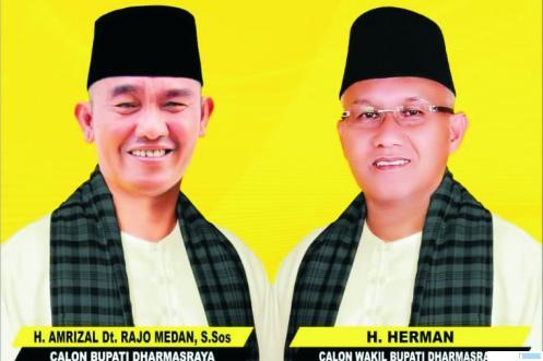 Baliho pasangan Cabup-Cawabup Dharmasraya, H Amrizal St.Rajo Medan (RJM) dan H Herman, yang diberi nama koalisi Amanah. DI