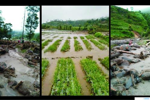 Lahan pertanian yang rusak parak akibat banjir dan longsor di Kenagarian Batu Bajanjang, Kecamatan Lembang Jaya Kabupaten Solok, Sumatera Barat yang disebabkan tingginya curah hujan, Senin dan Selasa (11-12/01/2021). JON