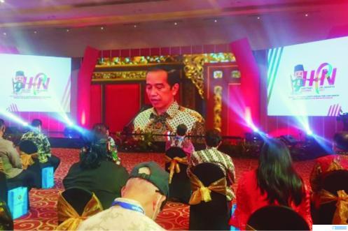Peringatan Hari Pers Nasional Tahun 2021 yang dipusatkan di Jakarta, Selasa (09/02/2021) dihadiri Presiden Jokowi secara virtual. NET