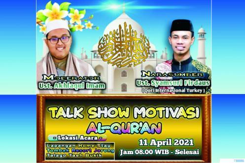Narasumber dan moderator yang akan tampil di Talk Show Rumah Alquran Al-Irsyad, Nagari Taeh Bukik, Kabupaten Limapuluh Kota. JNC