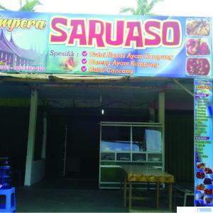 RM Ampera Saruaso di Sikabau, Pulau Punjung, Kabupaten Dharmasraya. RM ini menyediakan menu khas gulai ayam kampung campur nanas. DI