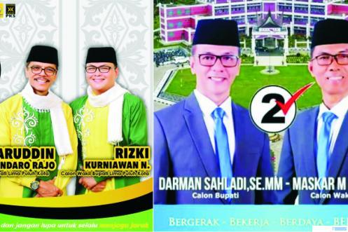 Pasangan kandidat Bupati-Wakil Bupati Limapuluh Kota Nomor Urut 3, Safaruddin-Rizki Kurniawan Nakasri (Safari) dan Nomor Urut 2, Darman Sahladi-Maskar M. Dt. Pobo. JNC