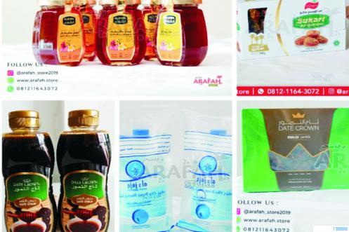 Kurma, sari kurma dan air zam zam yang tersedia di Arafah Store, Padang. Berbagai kebutuhan penganan berbuka puasa Ramadhan 1441 H lengkap disediakan di toko ini. IST