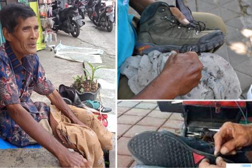 Amrizal (62) tukang jahit sepatu di Simpang Tiga Jl. Tembakau Payakumbuh. ERZ