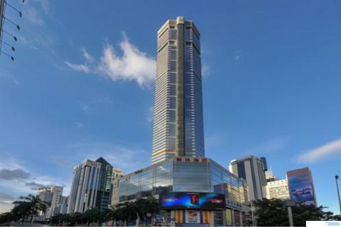 Salah satu gedung pencakar langit tertinggi di Shenzhen China, SEG Plaza, berguncang hebat hingga membuat para pengunjung panik, Selasa (18/05/2021). NET