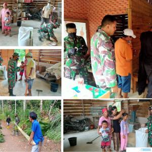 Personil Satgas Pra TMMD kodim 0306/50 Kota berbaur dengan masyarakat Nagari Talang Maur, Kecamatan Mungka, Kabupaten Limapuluh Kota. IST